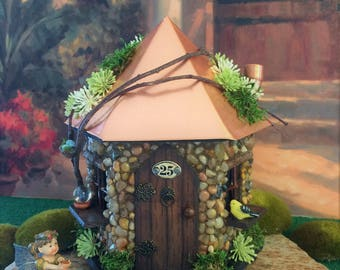 Fairy House / Fairy Garden House/ Fairy House with Copper Roof/ Stone Fairy House
