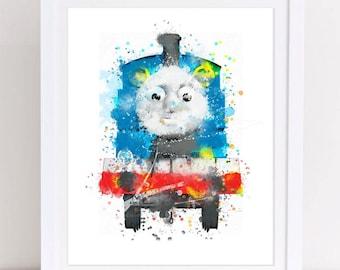 70% Thomas and friends poster thomas tha tank watercolor thomas the train watercolor nursery printable thomas train kids decor printable