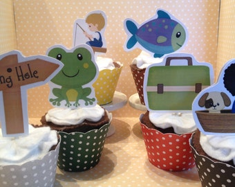 Fishing Party Cupcake Topper Decorations - Set of 10