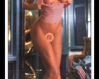 "Mature Playboy July 1991 : Playmate Centerfold Wendy Kaye Gatefold 3 Page Spread Photo Wall Art Decor 11"" x 23"""