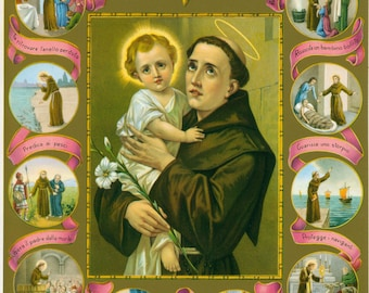 "Saint Anthony of Padua & Child Jesus Religious Art Print Picture - 7 1/2"" x 10"" ready to frame!"
