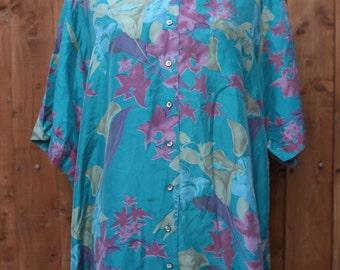Teal & Purple Floral Silk Shirt
