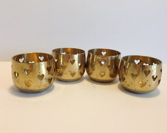 Tealight Holders Four Brass Heart Punch Tea Light Holders