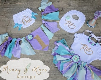 """The """"Ariel"""" Fabric Tutu, Birthday Tutu, First Birthday Outfit Girl, mermaid birthday, purple teal, High Chair Banner, Cake Smash Outfit Girl"""