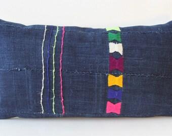 """African Indigo MudCloth Pillow Cover, 11""""x20"""" Lumbar"""