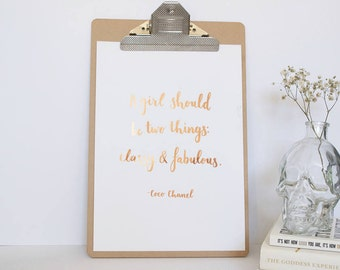 Foil Quote Print - Unframed Print - Motivational Quote - Real Copper Foil - Real Gold Foil - Inspirational Quote