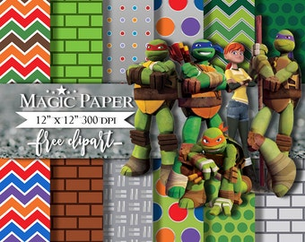 50% OFF SALE Ninja Turtles digital Paper, Papers Scrapbook invitation