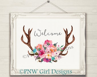 Brand New! A-323 Welcome Deer, Elk Antler Welcome PNW Girl Designs Wall Art Home Decor