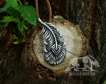 Slavic Fire-bird's Feather Pendant Sterling Silver Firebird Phoenix Feather Necklace Norse Slavic Jewelry