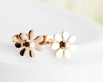 Daisy Earring 18K Rose Gold Little Daisy Stud Earring Wedding Bridal Bridesmaid Simple Flower Birthday Anniversary Daily Earring Gift