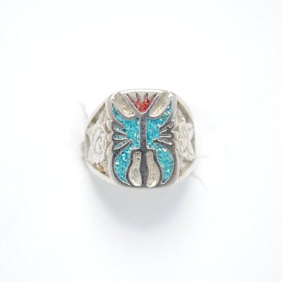 Unisex ring - biker ring - eagle ring - turquosie ring - vintage ring