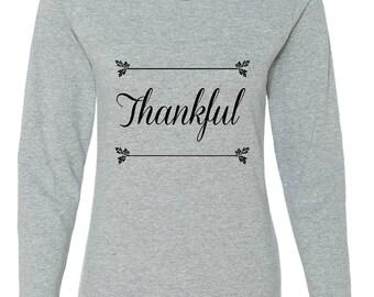 Thankful, Women's Long Sleeve Thanksgiving T-Shirt