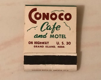 Conoco Cafe Motel Grand Island NE 20 Strike Matchbook Complete With Matches Front Strike