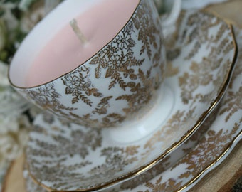 Stunning Vintage Crown Regent Soy Wax Tea cup Candle - Gift Ideas - Home Decor