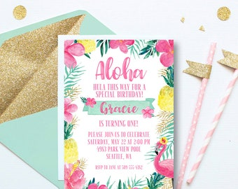 Aloha Hawaii Luau Birthday Invitation, Luau First Birthday Invitation, Hawaiian Invitation, Pineapple Invitation, Pink Gold, 1st Birthday