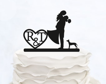 CUSTOM CAKE TOPPER with Initials_Wedding Cake topper with heart_cake topper cats_Personalized cake topper_Silhouette Bride & Groom