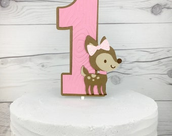 Fawn Cake Topper, Woodland Cake Topper, Deer Cake Topper, Smash Cake Topper, Wood Cake Topper
