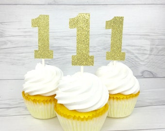 Gold Glitter 1 Cupcake Topper, Glitter 1 Cupcake Topper, Any Color 1, Any Number, Gold One Cupcake topper, First Birthday Cupcake Topper