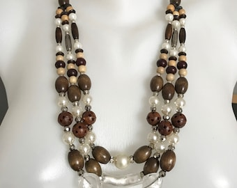 Multistrands Necklace,   Wooden Necklace,  Statement necklace, Mixed beads Necklace,