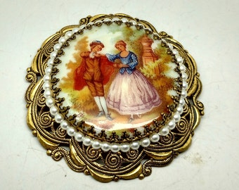 Vintage Ceramic Medallion Brooch