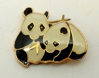 Vintage Panda Bear Pin-signed-CWCA and some asian lettering