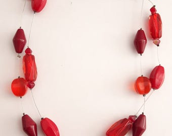 Red Necklace, Red Jewelry, Mother's Day Necklaces, Two Tier Necklace, Women's Jewelry, Gift for Her, Beaded Necklace, Red Beads, Boho Chain