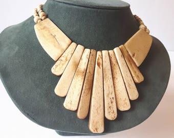 Vintage Bone Necklace, Tribal Necklace, Vintage Necklace, Statement Necklace, Bib Necklace