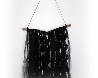 Black lace wall hanging, bohemian bedroom wall decor