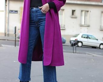 Lipstick / LOUIS FERAUD / coat Vintage / Fuchsia / Mohair / Cape