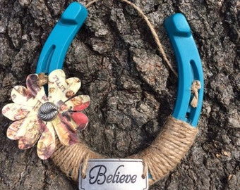 Believe Painted Horseshoe-Teal-Good luck-Cowgirl-Equestrian-Horse decor-Horseshoe art-Western-Barn gifts
