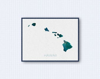 Hawaii Map Watercolor Poster, United States Map Print, Blue Version