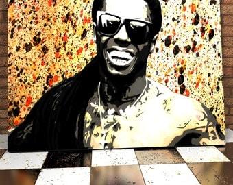 Lil Wayne Spray Painting Onto Canvas - Hip Hop Art - Weezy - Stunning Painted Canvas - Original Hip Hop Spray Painting - Hip Hop Painting