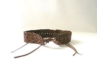 Womens Brown Leather Waist Tie Belt