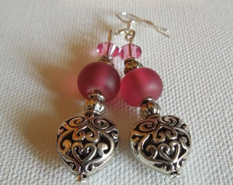 Silver Heart and Pink Dangle Earrings Hand Made