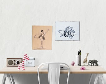 Rustic wood signs, Set of 2, Ballet print, Nursery decor, wood wall decor, Teen room decor, Gift for girl, Nursery art, Ballerina print