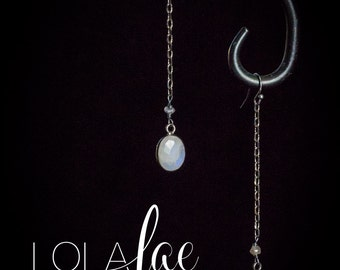 Rainbow moonstone earrings faceted oval stones suspended by oxidized sterling silver chain from French hooks by Lolafae