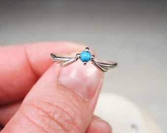 Vintage Sterling Silver Ring - Soviet Jewelry - Turquoise Ring Size 8