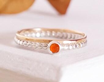 Stacking Rings, Sterling Silver Ring, Carnelian Gemstone, Gemstone Ring,  Birthstone Ring, 9ct Gold Ring, 9ct Gold Band, Silver Band