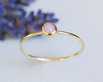 Pink Opal Ring, Solid Gold Opal Ring, October Birthstone, 9ct Gold Ring, Opal Jewelry, Gemstone Ring, Opal Gold Ring, Stacking Rings