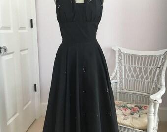 "1950s Black Taffeta Formal Swing Halter Dress a la Marylin appx 31"" bust"