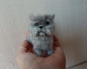 Needle felted fluffy little grey cat