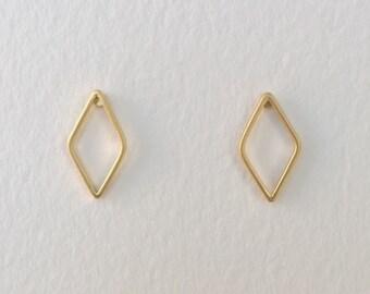 Tiny Matte Gold Rhombus Shaped Stud Earrings, Diamond Shaped Geometric Stud Earrings, Rhombus Post Earrings, Rhombus Stud Earrings