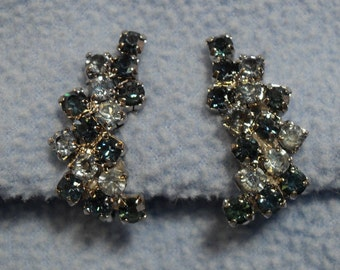 Light & Dark Blue Rhinestone Earrings, Vintage Clip