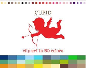 50 Colors Digital CUPID Clipart Cupid Clip Art Cutting File Cutting SVG Cricut Scrapbooking Crafting Valentine SVG file Silhouette #C002