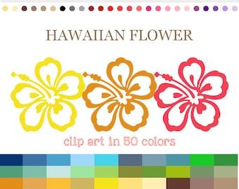 50 Colors Digital HAWAIIAN FLOWER Clipart Hibiscus Clip Art Rainbow Hawaii Digital Clip Art Hibiscus Flowers Scrapbooking Card Making #C068