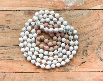 Charleston flapper necklace  long white necklace / long old rose necklace / continuous necklace / 20's necklace / Howlite and Rhodochrosite