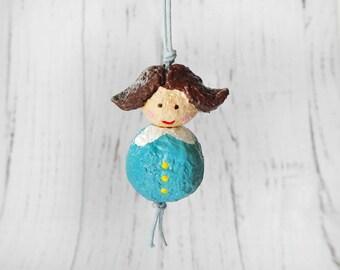 Ooak Doll Pendant, Paper Sculpture Doll, Cute Doll Pendant, Paper Bead Doll, Paper Mache Necklace, Art Doll Pendant, Paper Doll Charm