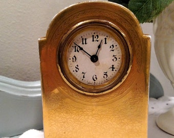 1900's, O & EG Royal Austria Porcelain Clock, Gold Plated
