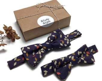 adult Butterfly child nodes box, graphic BowTie, father and son, duo bowties, father his bowtie, gift present family