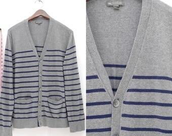 GAP Striped Cardigan Gray Navy Blue, Boyfriend Cardigan, Horizontal Stripes, Baggy Cardigan, Light Cardigan, Gap Clothing, Pockets